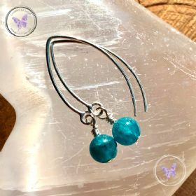 Apatite Angled Silver Earrings